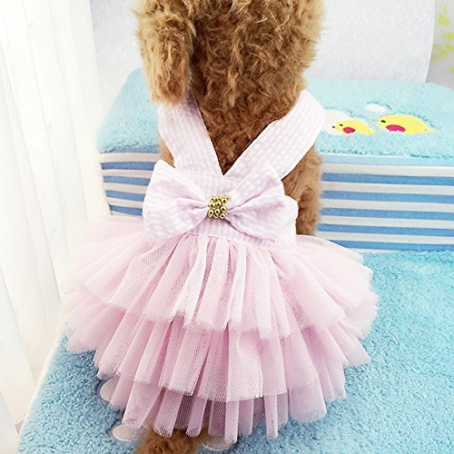 Celestte Pet Dog Dress,2016 New Fashion Striped Mesh Puppy Dog's Princess Dresses (S, Pink)