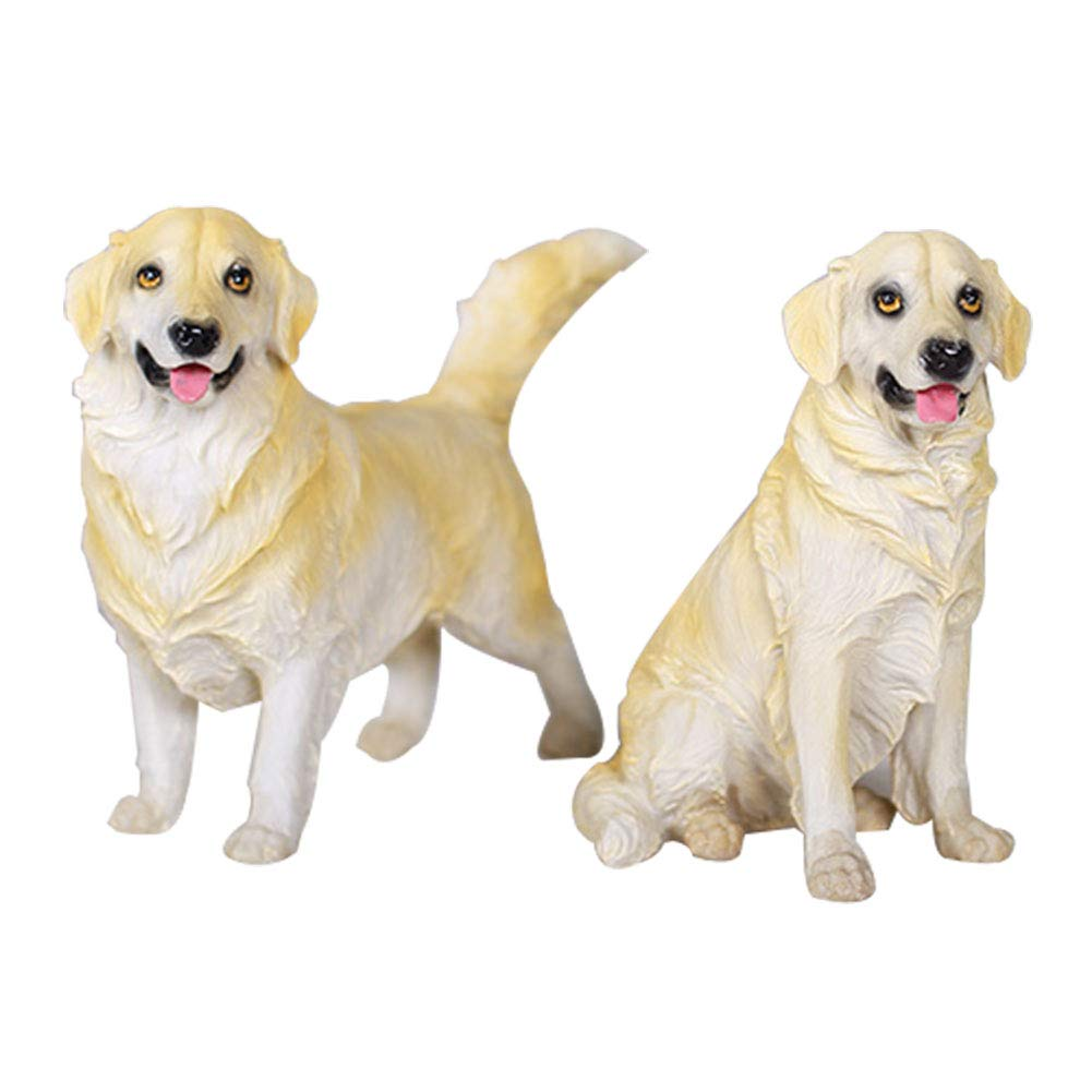 B Decoration Realistic dog pet animal model action statue natural toy collection cute puppy (1 pair)