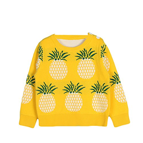 Jojobaby Toddler Unisex Baby Crew Neck Long Sleeve Cotton Pineapple Print Knit Pullover Sweater Jumper (18-24 Months, Yellow)