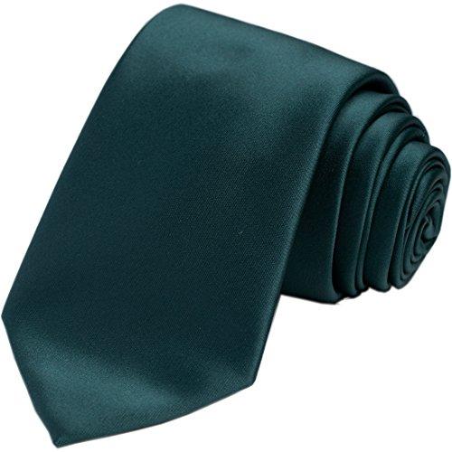 KissTies Hunter Green Tie Satin Necktie Solid Wedding Ties + Gift - Necktie Accessories Men