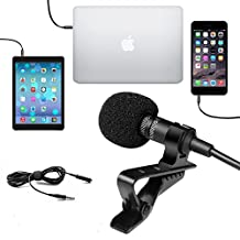 YODAY Clip-on Microphone Mini Lapel Mic Hands Free Omnidirectional Condenser Mini Microphone 3.5mm for Iphone/Ipad/Ipod Touch/Samsung/Android/Windows Smartphones(Black)