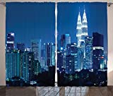 Fabric Curtains 2 Panel Set Kuala Lumpur Skyline at Night KLCC Twin Towers Malaysian Landmark Monochromic Photo Living Room Bedroom Decor Navy Black