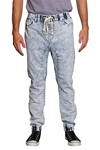 Victorious Mens Drop Crotch Jogger Denim Pants JG803 - Acid/Blue - Small