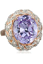 Rose Gold Plated Sterling Silver Lavender and White Cubic Zirconia Oval Ring, Size 7