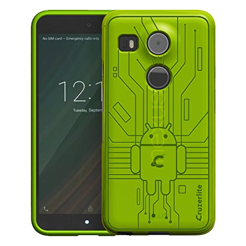 Nexus 5X Case, Cruzerlite Bugdroid Circuit Case Compatible for LG Nexus 5X - Green (Best Accessories For Nexus 5x)