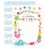 Your Main Event Prints Flamingo Birthday Invitation, Summer Pool Party Invite, Flamingle Invitation, Splash Pad, Waterslide, Flamingle Party, Luau, 20 Fill in Invitations and Envelopes