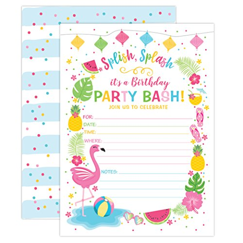 Your Main Event Prints Flamingo Birthday Invitation, Summer Pool Party Invite, Flamingle Invitation, Splash Pad, Waterslide, Flamingle Party, Luau, 20 Fill in Invitations and Envelopes
