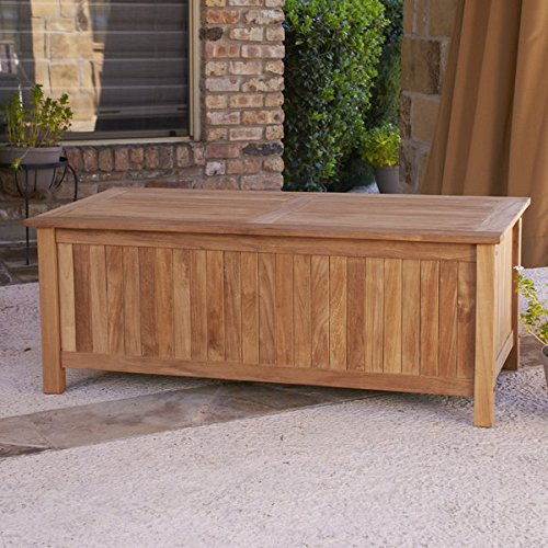 Traditional Teak Deck Box, Slatted Bottom, Can be Used as a Storage Bench, Solid Teak Wood Construction, Light Brown Natural Finish, Great Choice for Organizing Any Outdoor Living Space by Jaxterrific (Image #2)