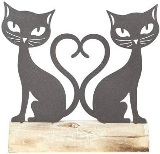 CAPRILO Figura Decorativa de Madera y Metal Pareja Gatos Corazón ...