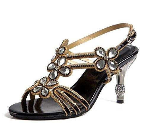 black Heel Rhinestone Bombas de Kitten amp; mujer Party Club de Brillo Zapatos Evening tobillo Sandalias Correa Z1FqFT