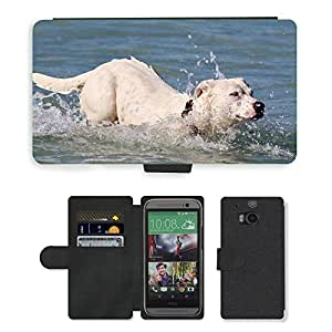 PU LEATHER case coque housse smartphone Flip bag Cover protection // M00108148 Sea Dog Swim Jump agua del océano // HTC One M8