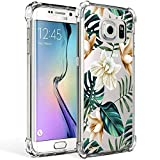 Galaxy S7 Edge Case for Girl Clear with Tropical Flower Design Shockproof Bumper Protective Cases for Samsung Galaxy S7 Edge 5.5 Inch Flexible Silicone Slim Palm Tree leaves Floral Pattern Cover Women