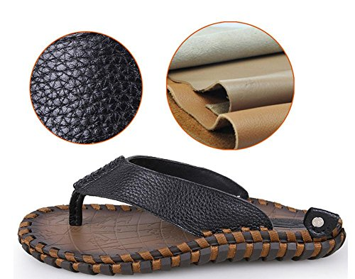 2017 verano nuevo cuero flip-flop de los hombres, sandalias tendencia de la primera capa de piel hechos a mano sandalias de la personalidad Black