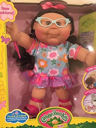 Cabbage Patch Kids Doll Ethnic Medium Skin Tone Adoptimal Key Floral Dress Black Hair Brown Eyes and Glasses Doll