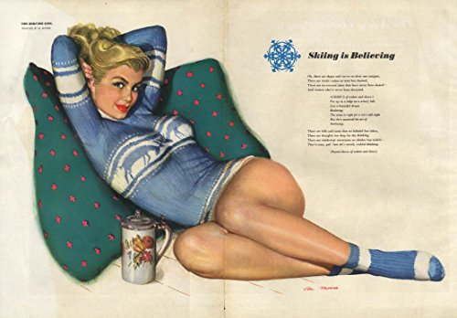 ESQUIRE pin-up foldout Skiing is Believeing by Al Moore 1950 blond tight -