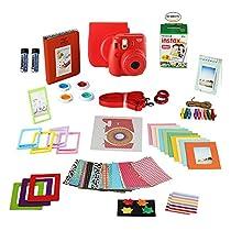 Fujifilm Instax Mini 8 Instant Camera + 20 Instant Film Shots, + Instax Mini Case + 14 PC Instax Accessories Bundle, Fuji Instax Mini 8 Kit Gift Box, Albums, Lenses, Magnet Frames,