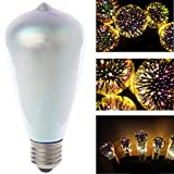 Misright E27 ST64 Colourful 3D Star Shine Decoration LED Light Bulb Multiple Reflection Alluminum Plated Glass