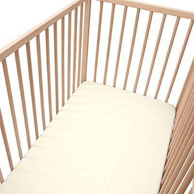 Baby color crudo claro - SoulBedroom 100% Algodón Juego de 2 sábanas bajeras ajustables para cuna 60 x 120 cm: Amazon.es: Bebé