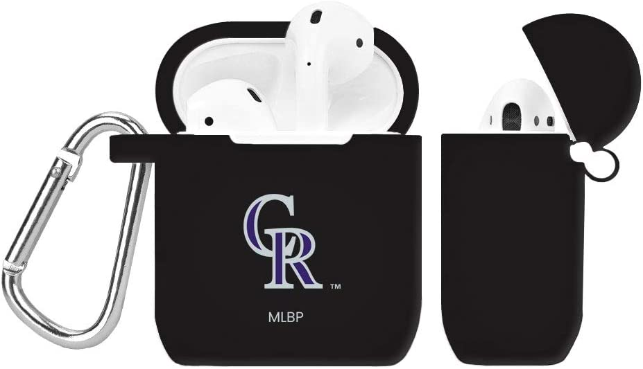 GAME TIME Colorado Rockies Silicone Case Cover for Apple AirPods Battery Case Black