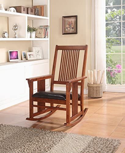 Rocking Rocker Wood Leather Chair