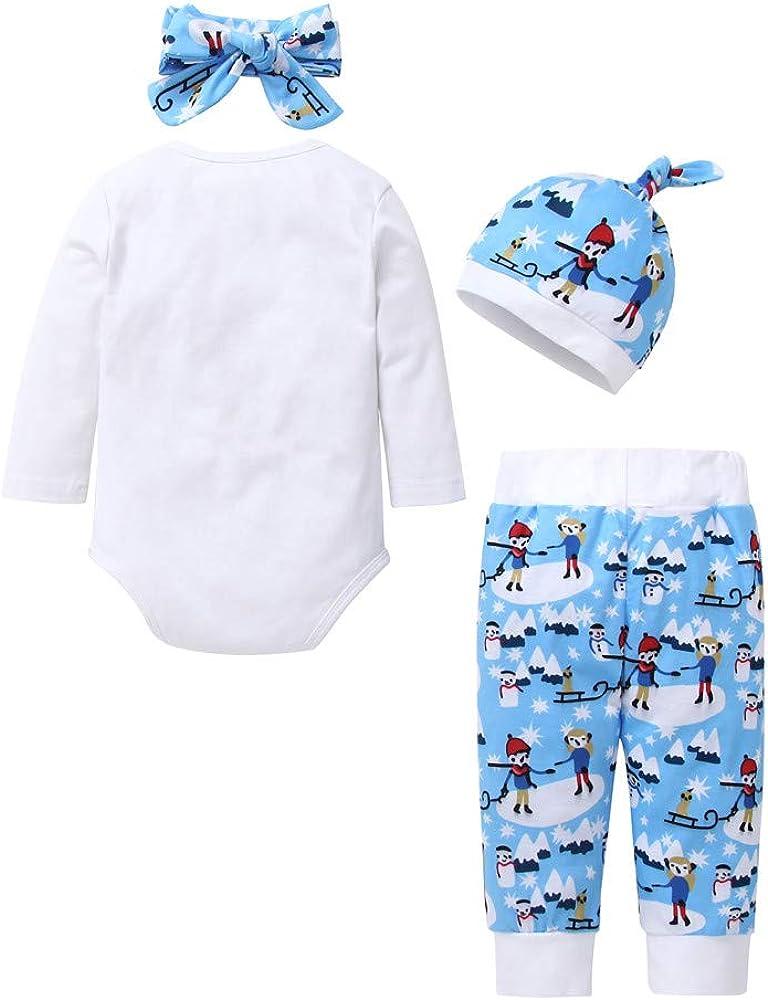 Lanhui Newborn Infant Baby Boys Girls Print Outfits T-Shirt Pants Hat Pajama Set