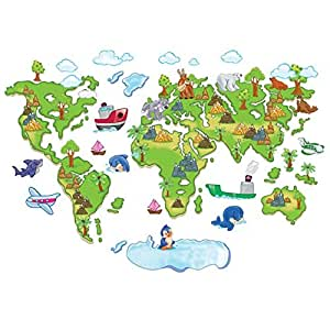 Cartoon World Map Cute Animal Wall Decals, Children's Room Nursery Removable Wall Stickers Murals
