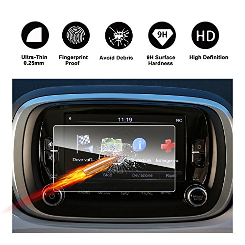 2016 2017 2018 FIAT 500X UConnect Touch Screen Car Display Navigation Screen Protector, RUIYA HD Clear TEMPERED GLASS Car In-Dash Screen Protective Film (6.5-Inch) free shipping
