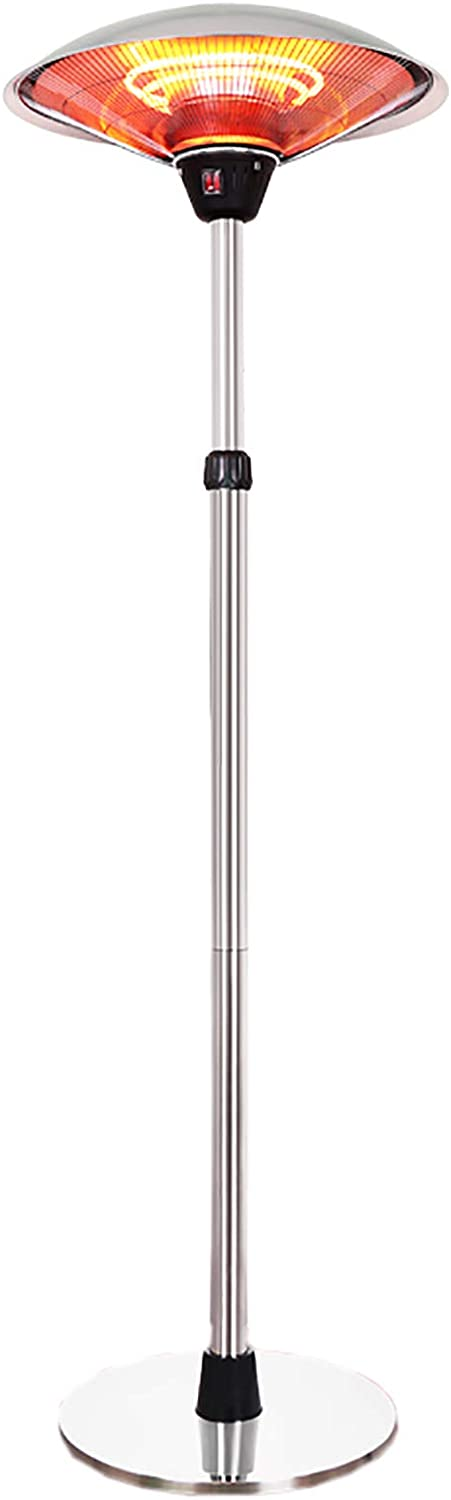 Patio Heater Outdoor Free Standing Patio Heater,Halogen Tube Electric Heater Adjustable Heat Angle and Height Heater for Garden Bedroom,1500W