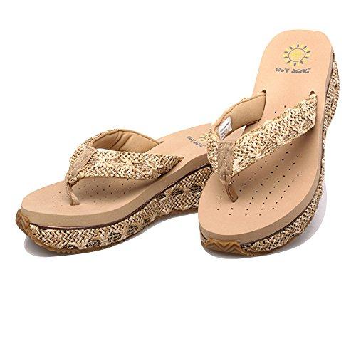 Grace Scarpe Donna Zeppa Flip Flip Sandali di Svago Boemia Più Colori tra cui Scegliere, Beige, 38