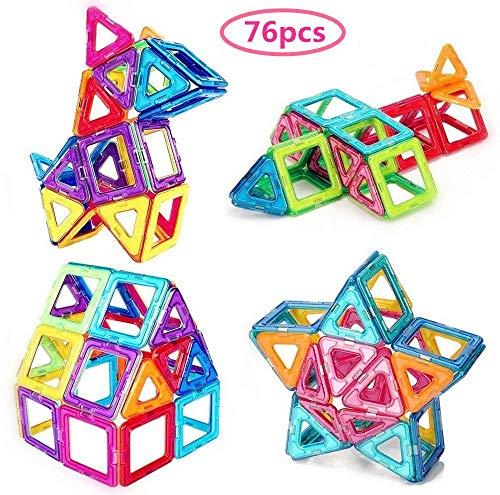 Morcare 76pcs Magnetic Blocks Magnetic Building Blocks Toys for Boys Girls, Magnet Tiles Molding Kits for Kids