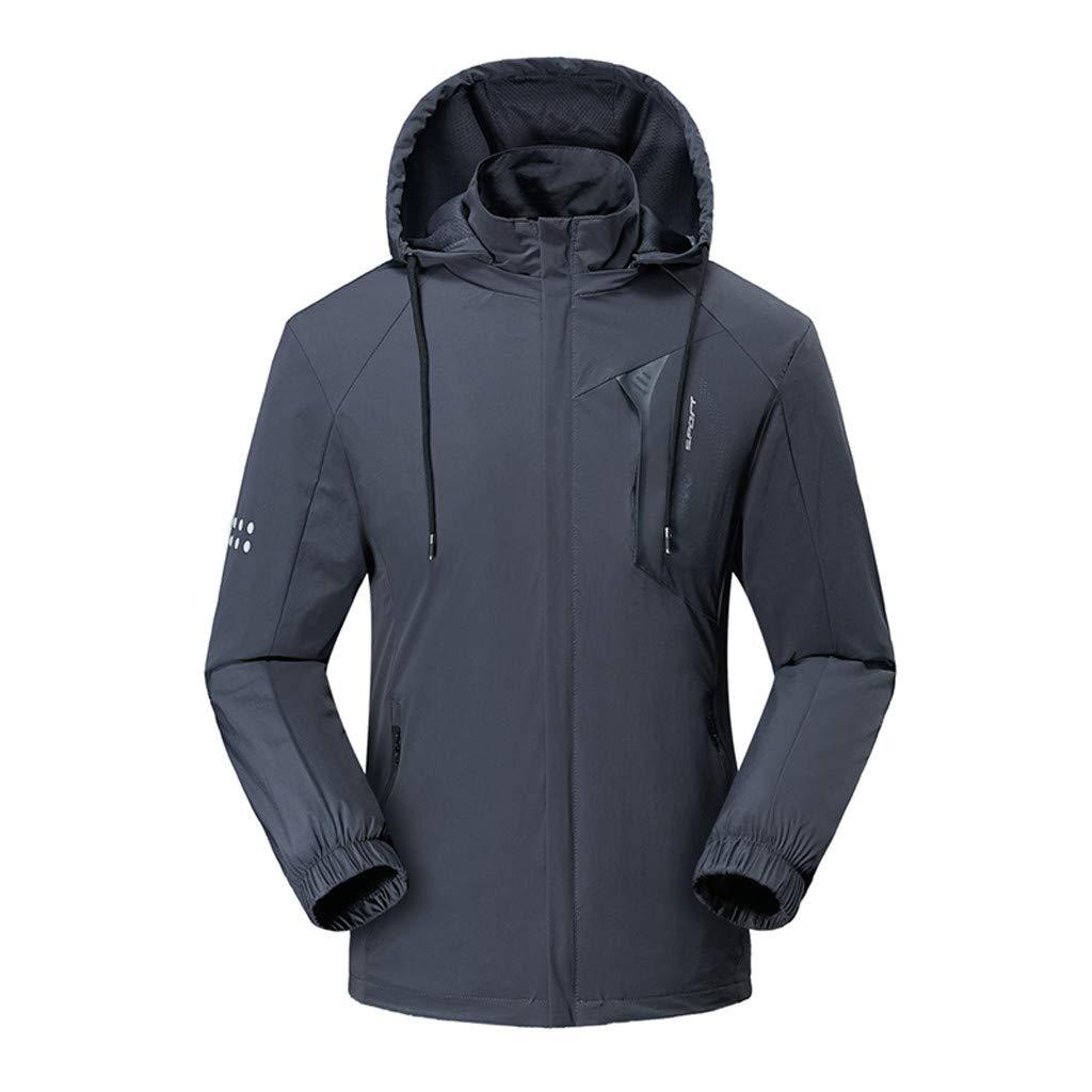 Hooded Jacket for Men Long Sleeve Splice Water Resistant Windbreaker Outdoor Sportswear (XL, Gray2) by Suoxo Men Tops