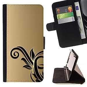 For HTC DESIRE 816 Case , Oro Negro Flores Floral- la tarjeta de Crédito Slots PU Funda de cuero Monedero caso cubierta de piel