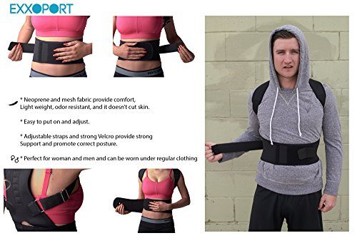 Back Brace Posture Corrector I for Youth, Men and Woman I Reduce Upper and Lower Back Pain I Stabilize Spine I Adjustable Straps (Medium (125-140lbs)) by EXXOPORT (Image #2)
