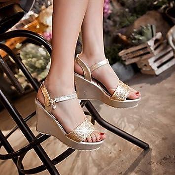 Damenschuhe Ferse Keile/Fersen/Peep Toe/Plateau Sandalen/Heels Outdoor/Kleid/Casual Silber/Gold, Silber, Us5.5/EU36/UK3.5/CN 35