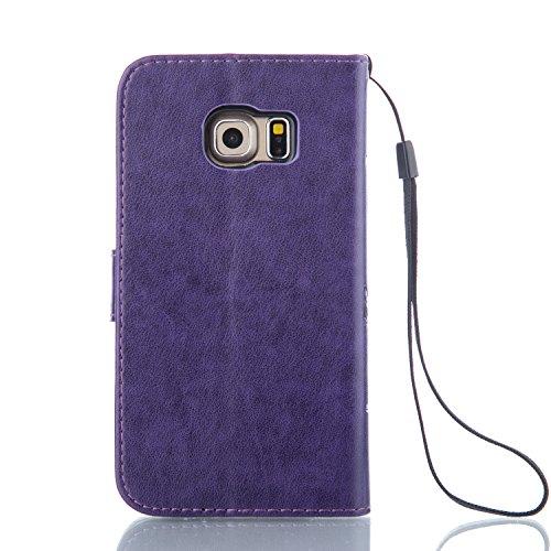 ZeWoo Funda de PU Piel - LD104 / Púrpura - para Samsung Galaxy S6 Edge+ (5,7 pulgadas) carcasas y fundas