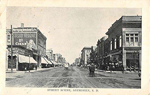 Aberdeen South Dakota Street Scene Cigar Sign Antique Postcard K71391