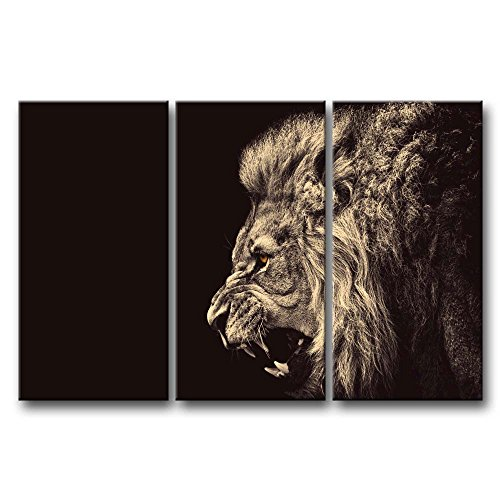 Lion Roar Picture (3 Panel Wall Art Painting Roar Lion Pictures Prints On Canvas Animal The Picture Decor Oil For Home Modern Decoration Print For Bathroom)