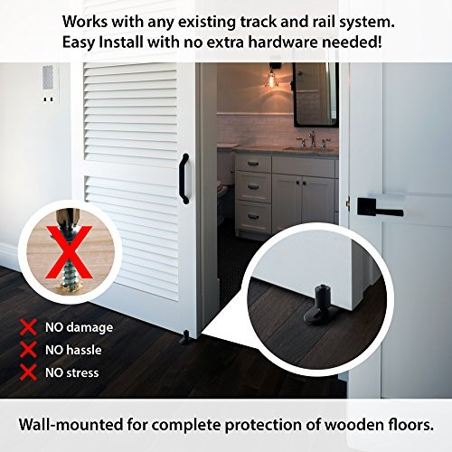 Fully Adjustable Wall Mounted Barn Door Guide - ORACLE GLIDE | IMPROVED DESIGN, Quiet, Lay-Flat System, Ball Bearing Technology, Safer Corners, Floor protecting. Hardware for Rolling and Sliding Doors by -ORACLE- (Image #4)