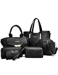 Donalworld Women 6 Pieces Multi-purpose Bag in Bag Purse PU Leather Handbag Set