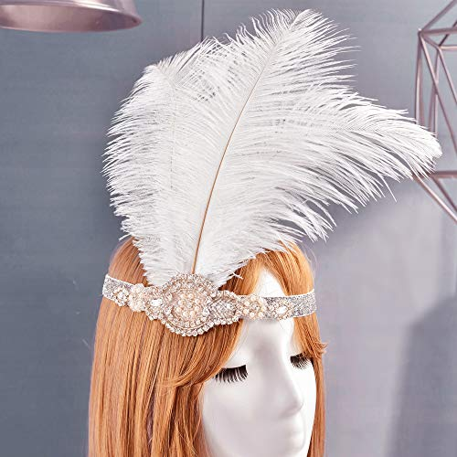LONGBLE Vintage 1920s Flapper Headband 20s White Headpiece Flapper Beads, Rhinestones, and Artificial Pearls Glittering Band Costumes Accessories (White 1)