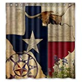 Shower Curtain Waterproof Bath Curtain Tropical Western Texas Star/Texas Star Map Home decor Bathroom PEVA Fabric 66(w) x72(h) Inch