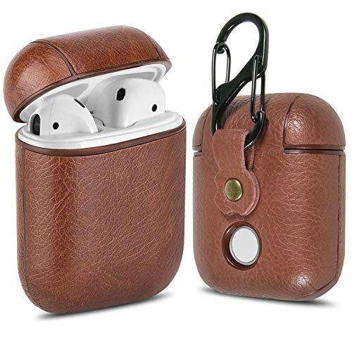 Leather AirPods Case Cover with Keychain Clip, CoreLife Protective Hard Vegan Leather Cover for Apple AirPods 1 & 2 Charging Case -