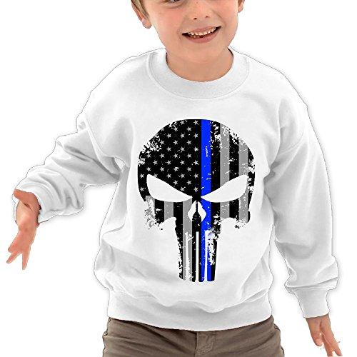 Puppylol Thin Blue Line Punisher Kids Classic Crew-Neck Pullover Hoodie White 5-6 Toddler