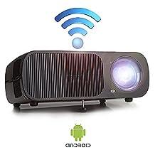 "Yuntab Mini Video WiFi Projector Android BL20 200"" Portable 2600 Lumens 3D Best Mini LCD Wireless Home Cinema Theater Projector Supports HD 1080p (WIFI-BL20-Black)"