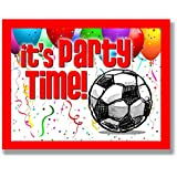 """12-PACK SOCCER Party INVITATIONS (Red, 4.25""""x5.5"""") 12-PACK Postcard Party Invitation Stationery for players, coaches and fans birthday parties, team parties and special events! #AllProfitsToHelpKids"""