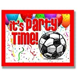 12-PACK SOCCER Party INVITATIONS (Red, 4.25''x5.5'') 12-PACK Postcard Party Invitation Stationery for players, coaches and fans birthday parties, team parties and special events! #AllProfitsToHelpKids