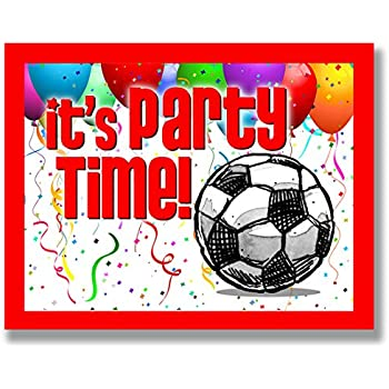 amazon com 12 pack soccer party invitations red 4 25 x5 5 12