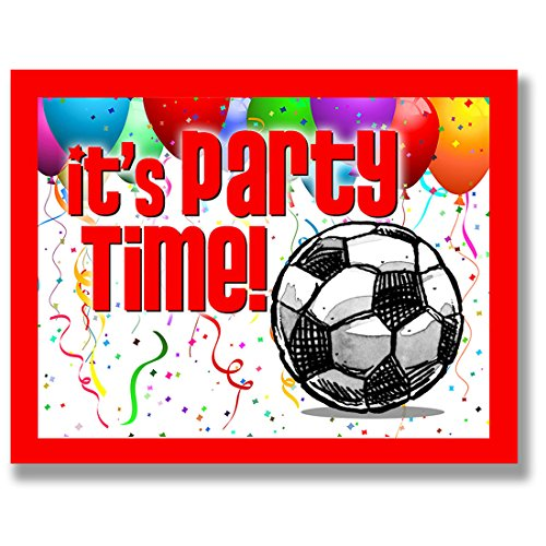 "12-PACK SOCCER Party INVITATIONS (Red, 4.25""x5.5"") 12-PACK Postcard Party Invitation Stationery for players, coaches and fans birthday parties, team parties and special events! #AllProfitsToHelpKids"