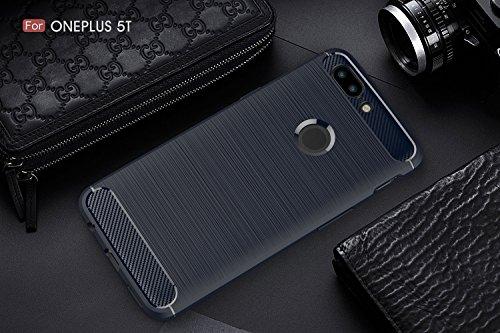 Funda Para OnePlus 5T, Sunrive Silicona Funda Slim Fit Gel Carcasa Case Bumper de Impactos y Anti-Arañazos Espalda Cover(Fibra de carbono azul marino) + 1 x Lápiz óptico Fibra de carbono azul marino