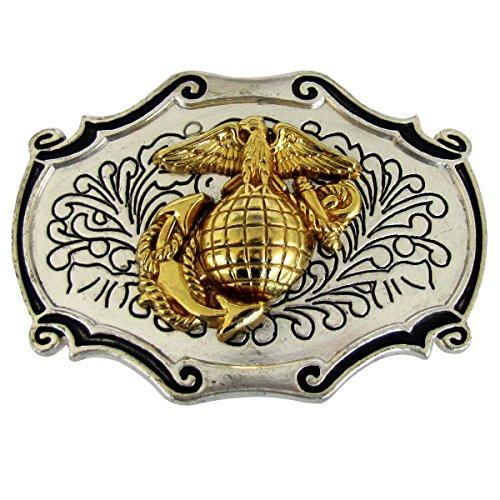 (US Marine Corps Metal Belt Buckle w/Gold)